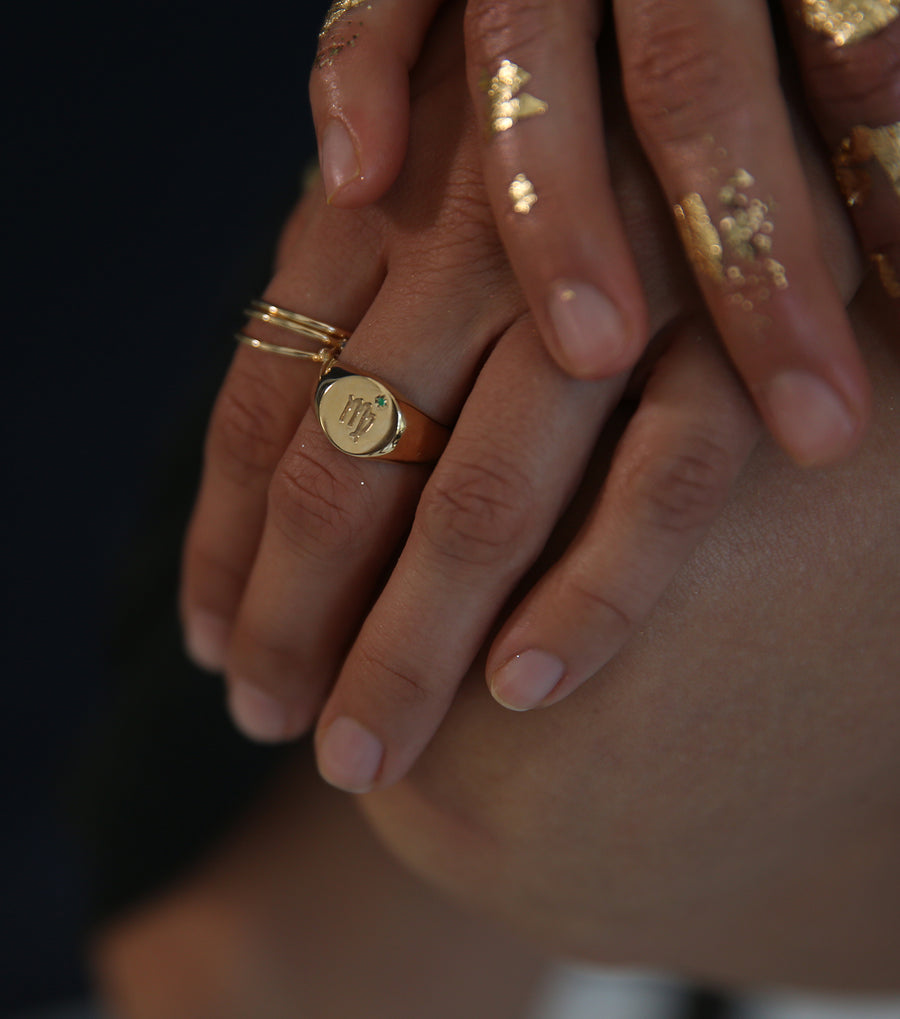 Zodiac Signet Ring Gold