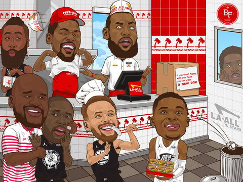 LA All-Stars In & Out Burger Poster - Basketball Forever Shop