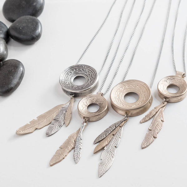 READY TO SHIP Large Pure Silver Pendant with Feather Accents Yoga Meditation Lotus Necklace, Pendant with Purpose, handmade