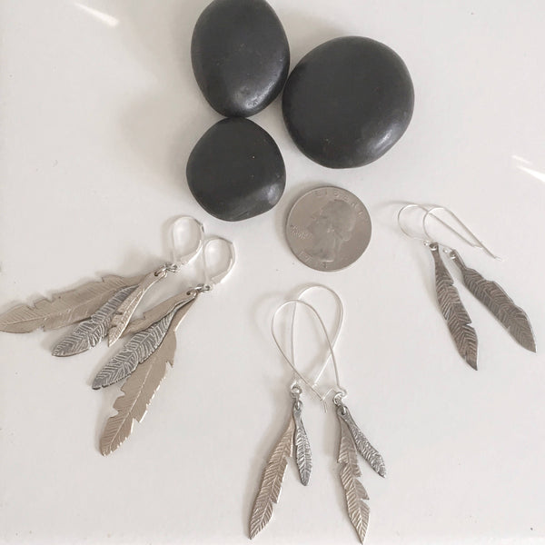 READY TO SHIP 1 Feather Earrings, 999 Silver