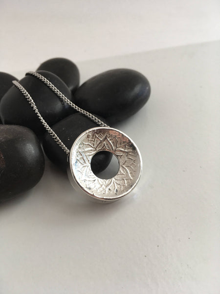 SECONDS SALE: please read description. Ready to Ship; Medium, SHINY Variable Line Lotus, 999 Silver Pendant Necklace