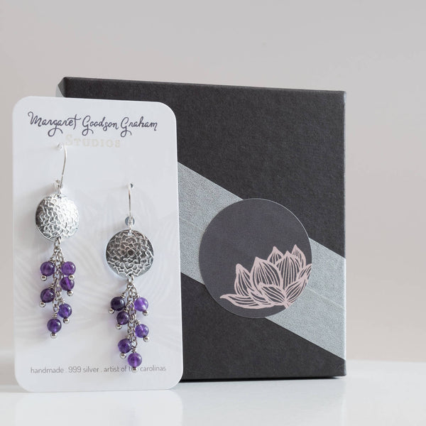 Crown Chakra Earrings with Amethyst Cluster Genuine Stone 999 Silver Lotus Handmade Yoga Mindfulness