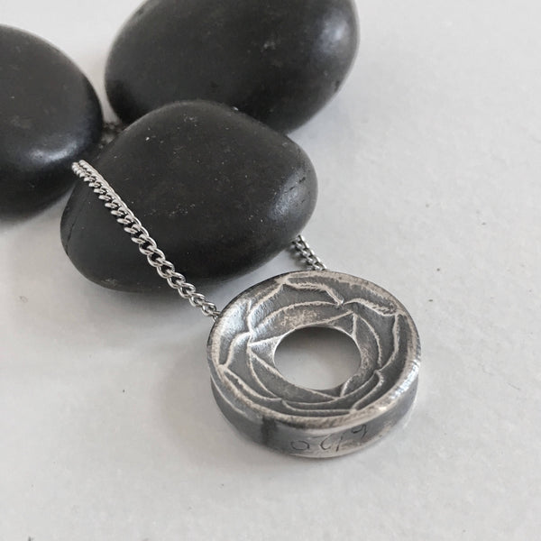 READY TO SHIP Small, Root Chakra, 999 Silver Yoga Meditation Lotus Pendant Necklace, Pendant with Purpose
