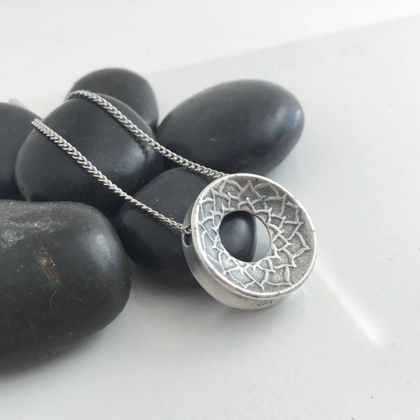 READY TO SHIP: Medium, Altered Form, 999 Silver Lotus Pendant Necklace, Pendant with Purpose, Yoga, Meditation, Mindfulness