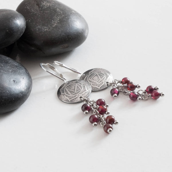 Root Chakra Earrings with Garnet Cluster Genuine Stone 999 Silver Lotus Handmade Yoga Mindfulness