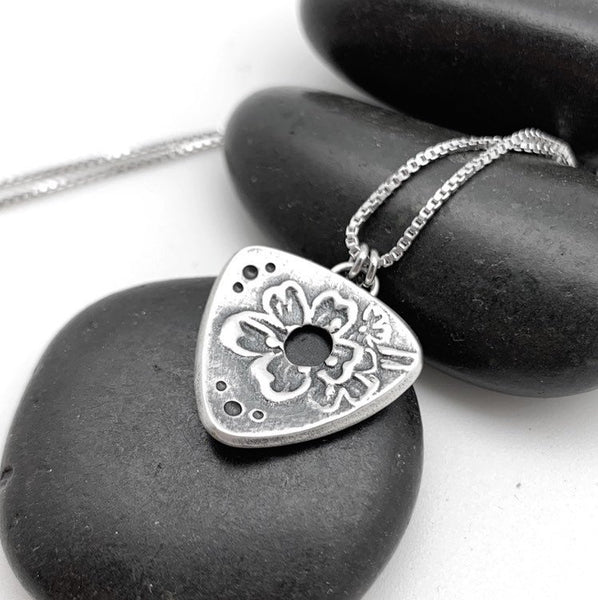 Silver Triangle Necklace with Cherry Tree Blossom Design, sterling silver chain