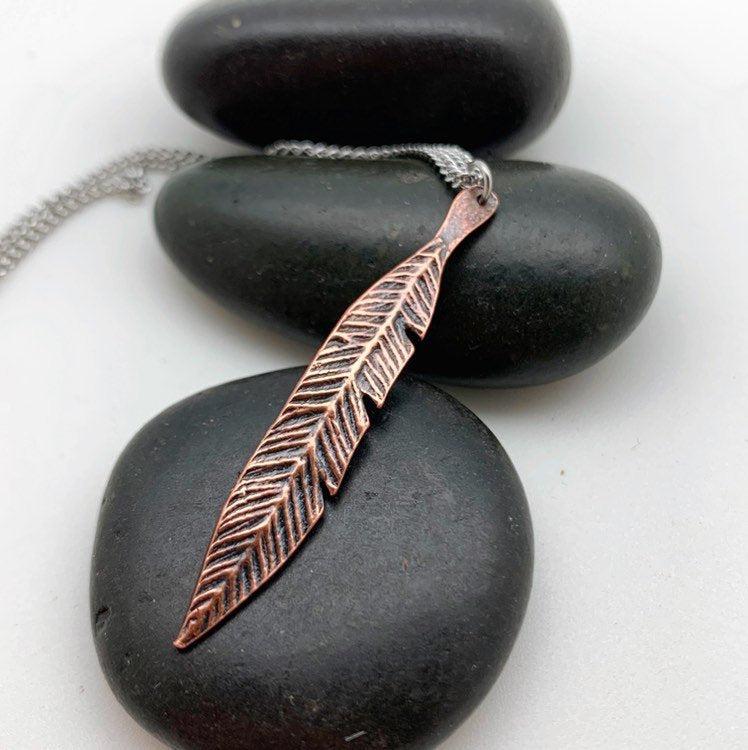 Copper Feather Necklace, stainless steel chain