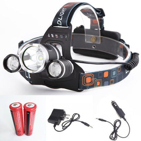 High Power 6000 Lumens Headlamp with 2x Battery + AC/Car Charger