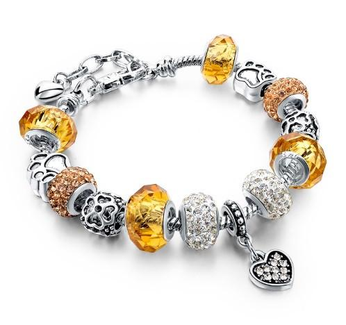 925 Silver Crystal Charm Bracelets With Autrian Crystals And Rhinestone