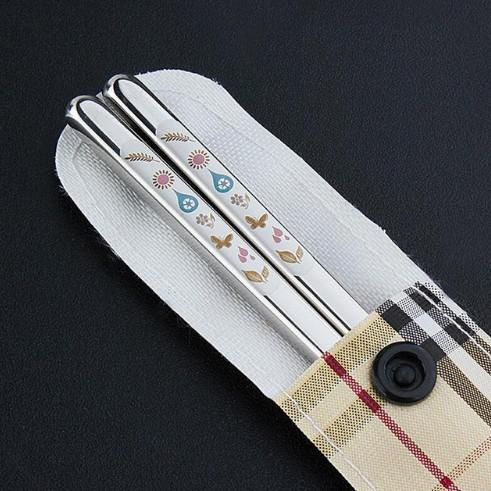 Creative Stainless Steel Korean Chopsticks With Engraving Patterns