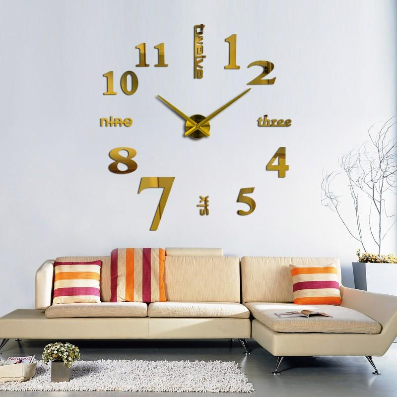 3D Big Wall Clock DIY Home Decor