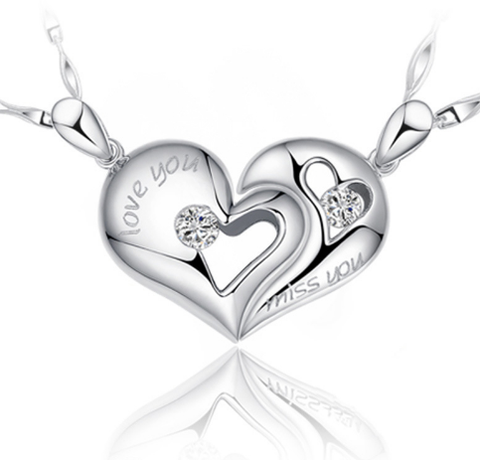 2 Pieces Broken Heart Couple Silver Pendant