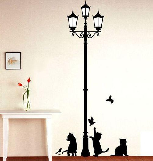 ancient lamp with cats & birds wall sticker – berry stock