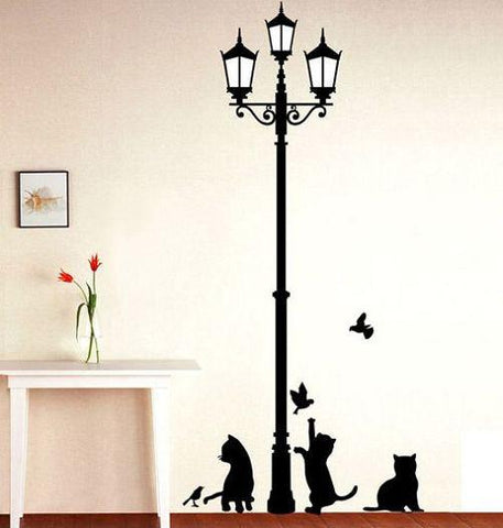 Ancient Lamp With Cats & Birds Wall Sticker