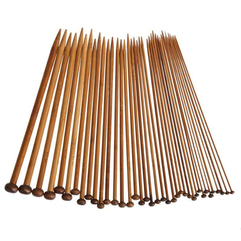 High Quality 36Pcs 18 Sizes Carbonized Bamboo Knitting Needles