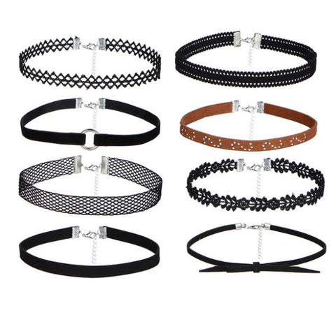 8pcs/Set Steampunk Gothic Choker Necklace