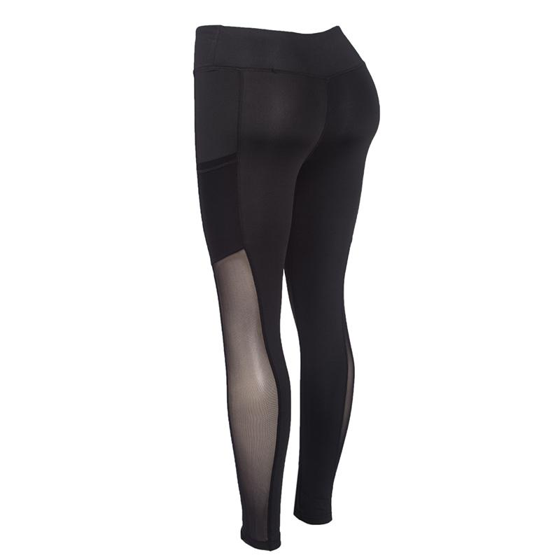 Full Length High Waist Elastic Leggings With Pocket