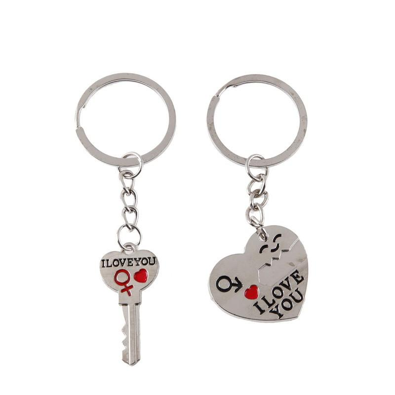 Couple Lovers Heart Keychain