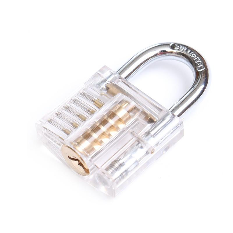 Mini Transparent Cutaway Practice Padlock With Broken Key Removing Hooks Lock Extractor Set