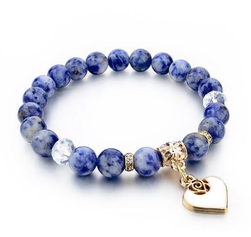 Pure Natural Stone Bracelet With Gold Heart