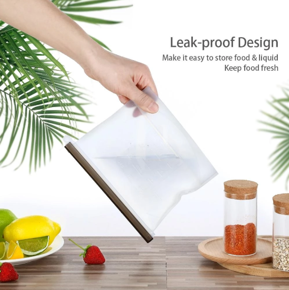 Reusable Leakproof Silicone Food Storage Ziplock Bag BPA Free