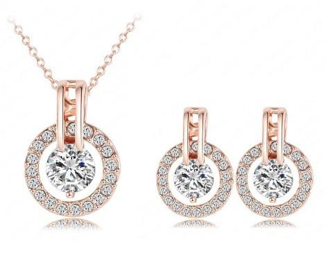 18k Rose Gold Plated Autrian Crystal Necklace And Earring Set