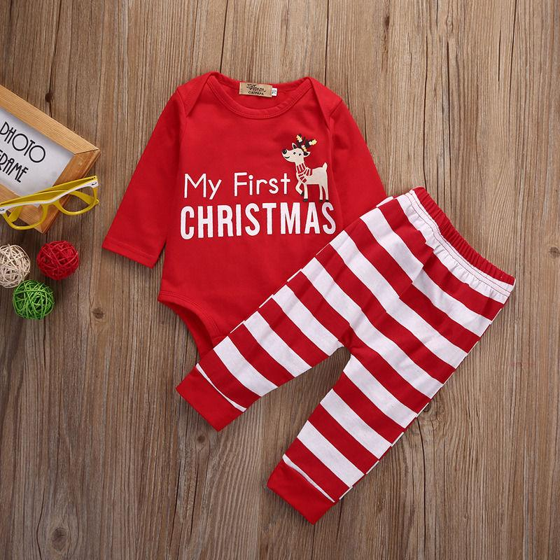 My First Christmas Baby Romper With Striped Pants