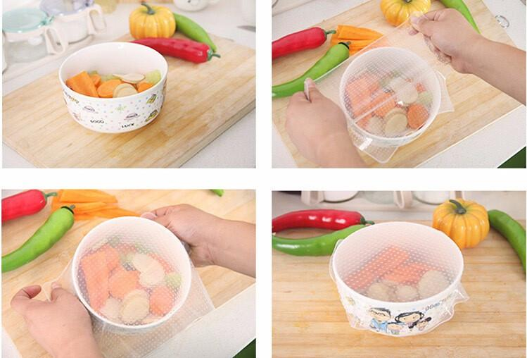 4Pcs Multi-functional Silicone Food Wraps