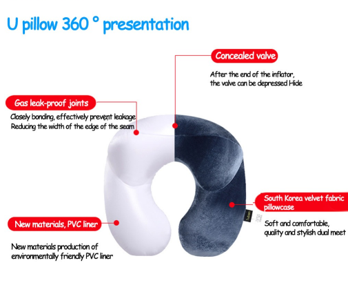 U Shape Inflatable Neck Pillow