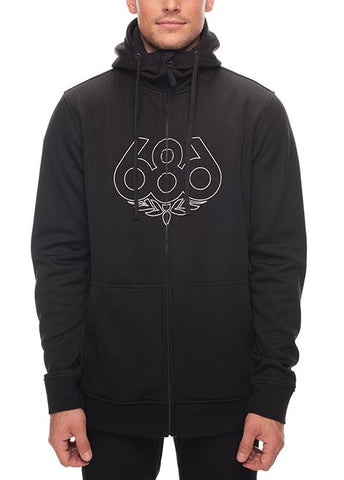686 ICON ZIP BONDED FLEECE HOODY - BLACK - 2018 - Boardwise