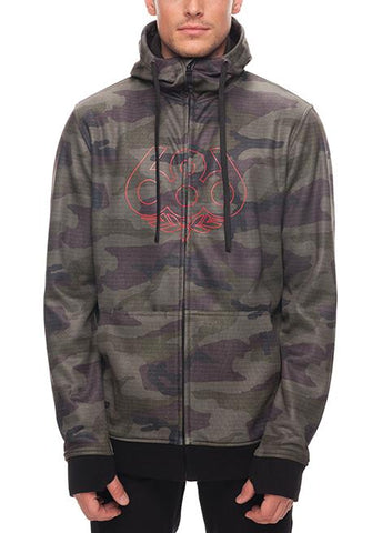 686 ICON ZIP BONDED FLEECE HOODY - FATIGUE CAMO PRINT - 2018 - Boardwise