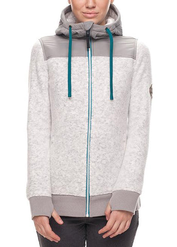 686 WOMENS FLO ZIP POLAR FLEECE - WHITE - 2018 - Boardwise