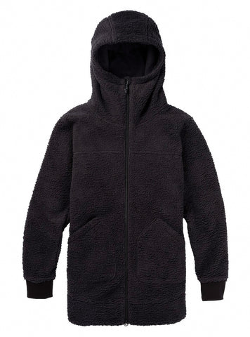 BURTON WOMENS MINXY FULL ZIP FLEECE - TRUE BLACK SHERPA - 2021