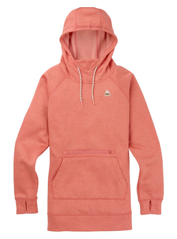 BURTON WOMENS OAK LONG PULLOVER HOODIE - CRABAPPLE HEATHER - 2020 - Boardwise