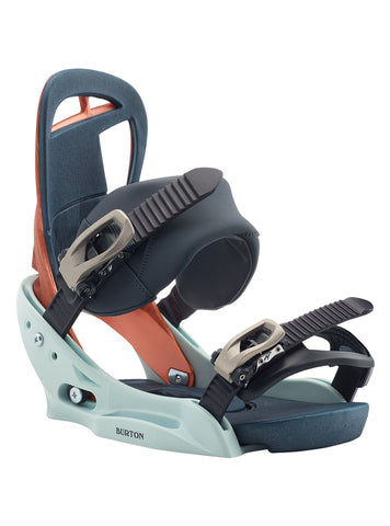 BURTON WOMENS SCRIBE SNOWBOARD BINDINGS - WOOD GRAIN JANE - 2020 FRONT