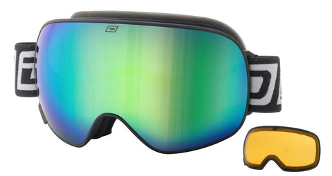 DIRTY DOG MUTANT 2.0 SNOWBOARD GOGGLES - BLACK GREEN FUSION - 2019