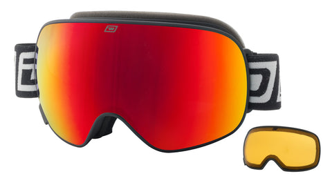 DIRTY DOG MUTANT 2.0 SNOWBOARD GOGGLES - BLACK RED MIRROR - 2019