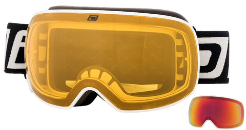 DIRTY DOG MUTANT 2.0 SNOWBOARD GOGGLES - WHITE RED MIRROR - 2018