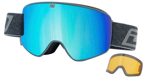 DIRTY DOG MUTANT LEGACY 0.5 SNOWBOARD GOGGLES - GREY BLUE MIRROR - 2019