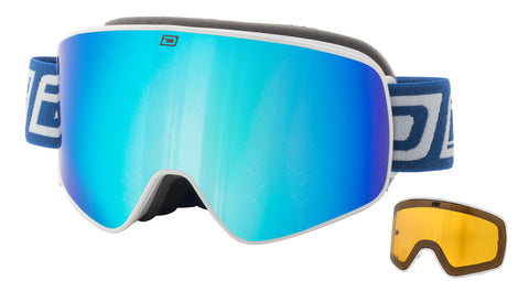 DIRTY DOG MUTANT LEGACY SNOWBOARD GOGGLES - WHITE BLUE FUSION - 2018 - Boardwise
