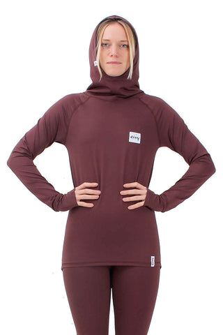 EIVY ICECOLD HOODED THERMAL TOP - WINE- 2019 - Boardwise