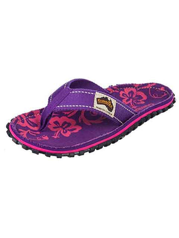 Gumbies Islander Canvas Flip Flops Purple Hibiscus