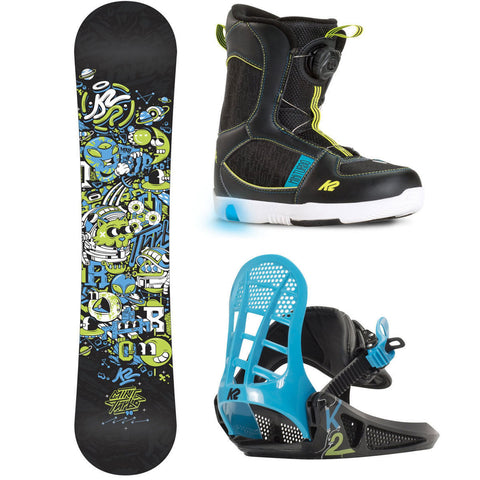 K2 KIDS MINI TURBO GROM SNOWBOARD PACK - 2016