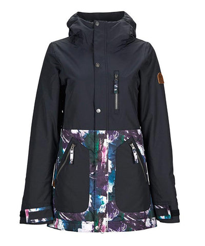 NIKITA WOMENS SYCAMORE SNOWBOARD JACKET - BLACK PAINT PALETTE - 2019