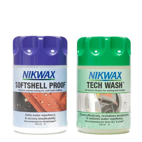 NIKWAX MINI TECH WASH AND SOFTSHELL PROOF TWIN PACK 100ML - Boardwise