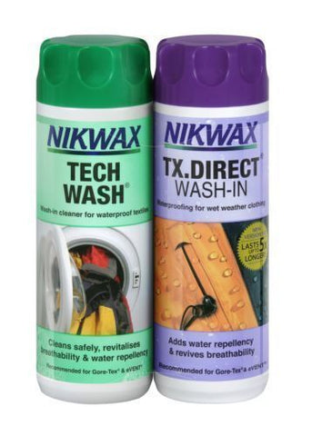 NIKWAX TECH WASH AND TX DIRECT TWIN PACK 300ML - Boardwise