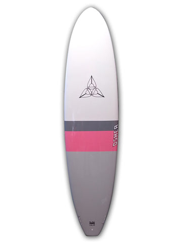 "O'SHEA MINI MAL 7'2"" - WHITE PINK GREY - SURFBOARD"