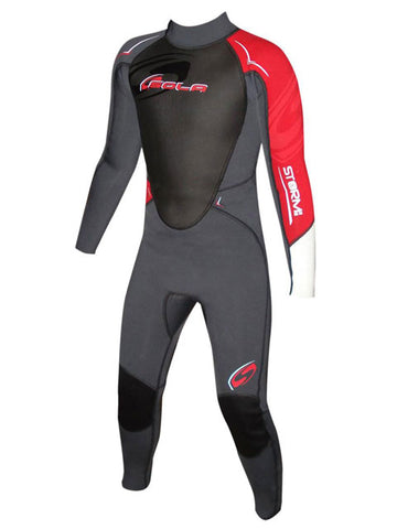 2017 Sola Storm 3/2mm Kids Summer Wetsuit Grey Red