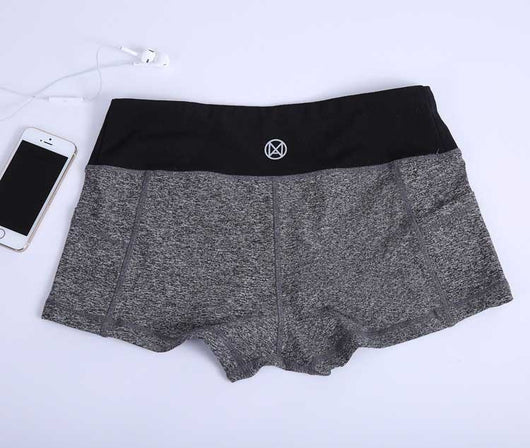 Women Fitness Active Shorts - Gray Black-Beyond Athlete