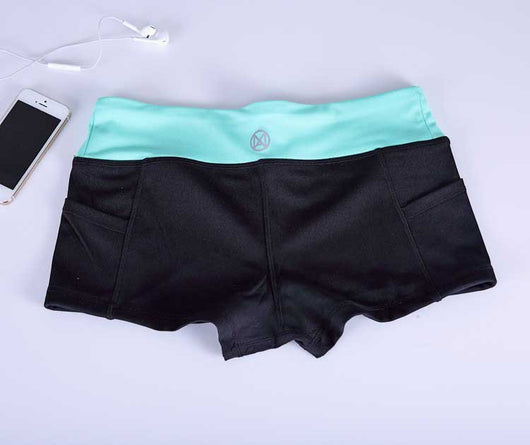 Women Fitness Active Shorts - Black Blue-Beyond Athlete